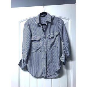 Zara woman striped button up blouse